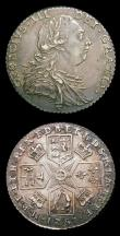 London Coins : A154 : Lot 2648 : Shillings (2) 1787 No Hearts, No Stop over head ESC 1218 NEF nicely toned with some light adjustment...