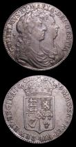 London Coins : A155 : Lot 1050 : Halfcrowns 1689 (2) First Shield, Caul only frosted, with pearls, ESC 505 Good Fine/Fine, Second Shi...