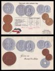 London Coins : A155 : Lot 1862 : German East Africa coin card postcards (2) slightly different designs but one in German and the othe...