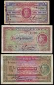 London Coins : A155 : Lot 1933 : Malta (3) George VI Written style signature issues (3) Five Shillings, Two Shillings and Sixpence an...