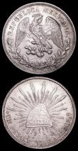 London Coins : A157 : Lot 1544 : Mexico One Peso (2) 1908 Mo AM KM#409.2 A/UNC with a small spot on the obverse rim, 1910 Caballito K...