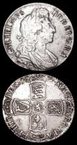 London Coins : A157 : Lot 2520 : Halfcrowns (2) 1697B ESC 543 Fine or slightly better with some surface marks and scratches, and some...