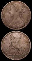 London Coins : A157 : Lot 2941 : Pennies (3) 1861 Freeman 25 dies 4+G Near Fine, 1864 Plain 4 Freeman 49 dies 6+G About Fine, 1864 Cr...