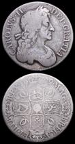 London Coins : A158 : Lot 1865 : Crowns (2) 1679 Fourth Bust ESC 57 VG, 1696 OCTAVO ESC 89 VG or slightly better the reverse with som...