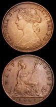 London Coins : A158 : Lot 2271 : Halfpennies (2) 1861 Freeman 275 dies 5+G EF, 1699 Date in legend, type II Peck 675 VG