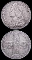 London Coins : A158 : Lot 3292 : Halfcrowns (2) 1745 LIMA ESC 605 Good Fine with a small edge crack, 1746 LIMA ESC 606 NVF and nicely...
