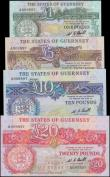 London Coins : A159 : Lot 1707 : Guernsey (4) 20 Pounds, 10 Pounds, 5 Pounds & 1 Pound issued 1980 - 1989, all four notes with ma...