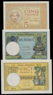 London Coins : A159 : Lot 1788 : Madagascar (3) 20 Francs, 10 Francs & 5 Francs issued 1937 - 1947, (Pick35, Pick36 & Pick37)...