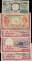 London Coins : A159 : Lot 1789 : Malaya & British Borneo (5) 10 Dollars dated 1st March 1961 (3), Farmer with ox at right, (Pick9...