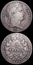 London Coins : A159 : Lot 1994 : France 5 Francs (2) Napoleon as Emperor - The Hundred Days 1815I KM#704.4 VG, 1815L KM#704.5 VG or b...