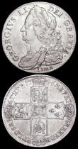 London Coins : A159 : Lot 2881 : Halfcrown 1746 LIMA ESC 606 Good Fine, Shilling 1745 LIMA ESC 1204 VF with some scratches in the rev...