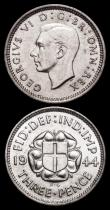 London Coins : A159 : Lot 2966 : Silver Threepences (2) 1943 ESC 2157 GF/NVF, 1944 ESC 2158 NEF with some contact marks