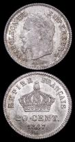 London Coins : A159 : Lot 3098 : France 20 Centimes 1867BB KM#808.2 UNC and About UNC, both lustrous, each piece struck from differen...