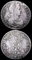 London Coins : A159 : Lot 3103 : France Ecu (2) 1652L KM#155.10 Good Fine with some adjustment lines,  1652K KM#155.9 VG