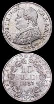 London Coins : A159 : Lot 3245 : Italian States - Papal States (3) 1 Lire (2) 1866R KM1378 UNC or near so and nicely toned, 1867R KM#...