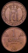 London Coins : A159 : Lot 3331 : Norway 1 Ore 1911 KM#67 A/UNC, 1914 KM#367 GEF