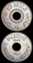 London Coins : A159 : Lot 3338 : Palestine 10 Mils (2) 1940 KM#4 EF toned with light contact marks, 1946 KM#4 EF/GEF with some dirt i...
