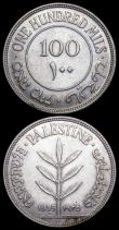 London Coins : A159 : Lot 3344 : Palestine 100 Mils (2) 1935 KM#7 VF, 1942 KM#7 VF