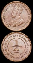 London Coins : A159 : Lot 3445 : Straits Settlements Quarter Cents (3) 1889 KM#14 NVF/NEF, 1901 KM#14 GF/VF, 1916 KM#27 UNC toned