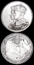 London Coins : A159 : Lot 422 : Canada 1939 Royal Visit (2) 32mm diameter in silver, the first A/UNC and lustrous with some contact ...