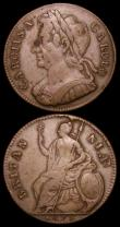 London Coins : A159 : Lot 874 : Halfpennies (2) 1675 5 over 3 type as Peck 528, now listed by Spink under S.3393, Good Fine and bold...