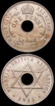 London Coins : A160 : Lot 1035 : British West Africa (3) Two Shillings 1938KN Security edge KM#24 FT26 UNC and lustrous with a small ...