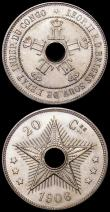 London Coins : A160 : Lot 1051 : Congo Free State (3) 20 Centimes 1906 KM#11, 10 Centimes 1906 KM#10, 5 Centimes 1906 KM#9 all UNC wi...