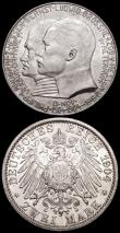 London Coins : A160 : Lot 1102 : German States (2) Hesse-Darmstadt 2 Marks 1904 400th Birthday of Philipp the Magnanimous KM#372 Lust...
