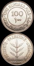 London Coins : A160 : Lot 1206 : Palestine 100 Mils (2) 1933 KM#7 NEF with a small spot on the reverse rim, 1934 KM#7 EF or near so w...