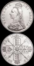 London Coins : A160 : Lot 2912 : Double Florins (2) 1887 Roman 1 ESC 394 EF with some contact marks, 1887 Arabic 1 ESC 395 UNC or nea...