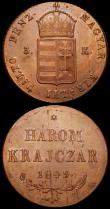 London Coins : A160 : Lot 3286 : Hungary (2) 3 Krajczar 1849 War of Independence Coinage KM#434 Toned UNC with some signs of flan str...