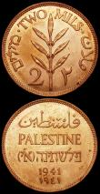 London Coins : A160 : Lot 3400 : Palestine 2 Mils (2) 1941 KM#2 UNC with practically full lustre and some small spots, 1942 KM#2 UNC ...