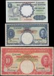 London Coins : A160 : Lot 452 : Malaya (2) and Malaya & British Borneo, 10 Dollars & 1 Dollar from Malaya dated 1st July 194...