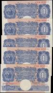 London Coins : A160 : Lot 50 : One Pound Peppiatt (5) B249 blue emergency issue 1940, a consecutively numbered run series J70H 3690...