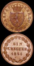 London Coins : A161 : Lot 1182 : German States - Nassau 6 Kreuzer 1836 KM#46.2 UNC and lustrous, 1 Kreuzer 1856 KM#67 UNC with an att...