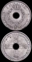 London Coins : A161 : Lot 1288 : Norway (2) 1 Krone 1946 KM#385 Lustrous UNC with a few small spots, 25 Ore 1923 KM#395 UNC and lustr...