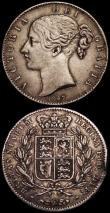 London Coins : A161 : Lot 1486 : Crown 1847 Young Head ESC 286, Bull 2567 Good Fine/Fine with an edge bruise and edge nick, Florin 18...