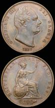 London Coins : A161 : Lot 2376 : Halfpennies (3) 1831 Peck 1461 A/UNC nicely toned, 1834 Peck 1464 EF with a small tone spot in the o...