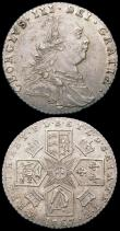 London Coins : A161 : Lot 2908 : Sixpences (2) 1758 ESC 1623, Bull 1763 EF/GEF nicely toned, 1787 No Hearts ESC 1626, Bull 2187 EF
