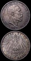London Coins : A162 : Lot 1180 : German States - Schwarzenburg-Sondershausen (2) 3 Marks 1909A Death of Karl Gunther KM#154, A/UNC an...