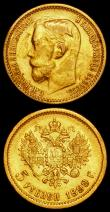 London Coins : A162 : Lot 1314 : World Gold (2) Russia 5 Roubles 1899 фЗ Y#62 VF the obverse with some surface residue, Austria 10 ...