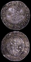 London Coins : A162 : Lot 1595 : Groat Charles I Aberystwyth, Crown breaks inner circle S.2891 mintmark Book Good Fine and nicely ton...