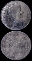 London Coins : A162 : Lot 1846 : Halfcrown 1683 ESC 490, Bull 497 some weakness of strike between 1 and 2 o'clock and correspond...