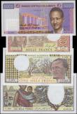 London Coins : A162 : Lot 237 : Djibouti (4), 10000 Francs issued 1984 series U.001 64356, (Pick39b), 5000 Francs issued 1979 series...