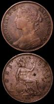 London Coins : A162 : Lot 2403 : Pennies (2) 1879 Freeman 98 dies 9+K Fine for wear the reverse with some spots, Rare, 1879 Freeman 9...