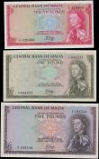 London Coins : A162 : Lot 301 : Malta Central Bank (3), 5 Pounds issued 1968 (Law of 1967) series A/2 295544, (Pick30a), good VF, 1 ...