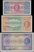 London Coins : A162 : Lot 302 : Malta Government (3), 10 Shillings issued 1940 series A/3 539270, (Pick19), about Uncirculated, 2 Sh...