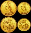 London Coins : A162 : Lot 549 : Queen Victoria Golden Jubilee Set 1887 a 4-coin set in gold comprising Five Pounds 1887 lustrous A/U...