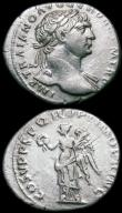London Coins : A163 : Lot 229 : Roman Ar Denarius (3) Trajan (103-111AD) Obverse: Laureate head right, draped on left shoulder, IMP ...