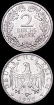 London Coins : A163 : Lot 2466 : Germany - Weimar Republic 2 Reichsmarks (2) 1926A KM#45 EF, 1927A KM#45 Lustrous A/UNC